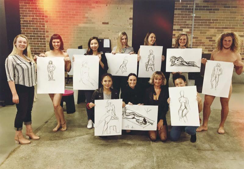 perth hens night art nudist drawing